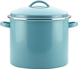Farberware Enamel on Steel Stock Pot/Stockpot with Lid - 16 Quart, Blue