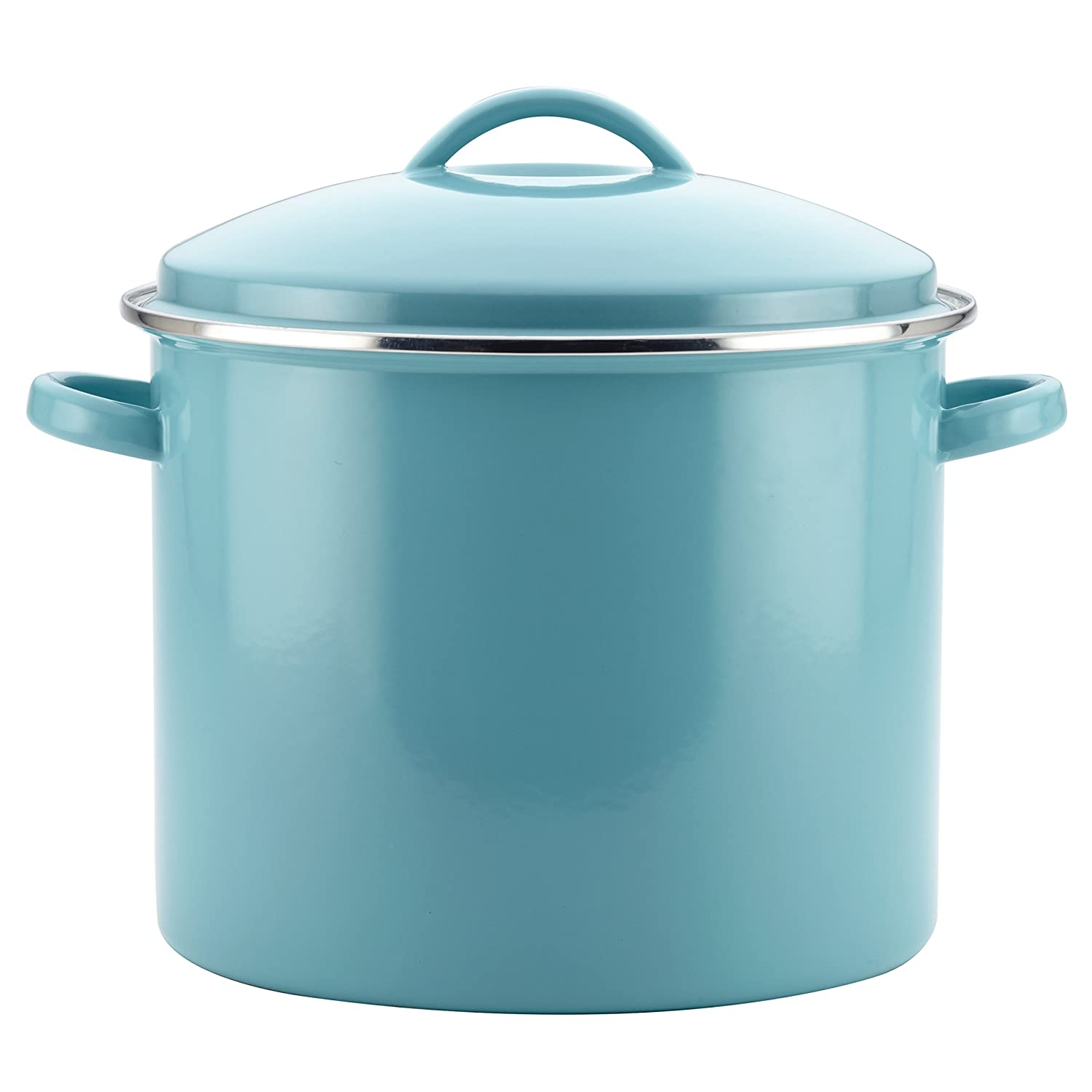 Farberware 46497 Enamel-on-Steel Large Covered Stockpot, 16-Quart, Aqua