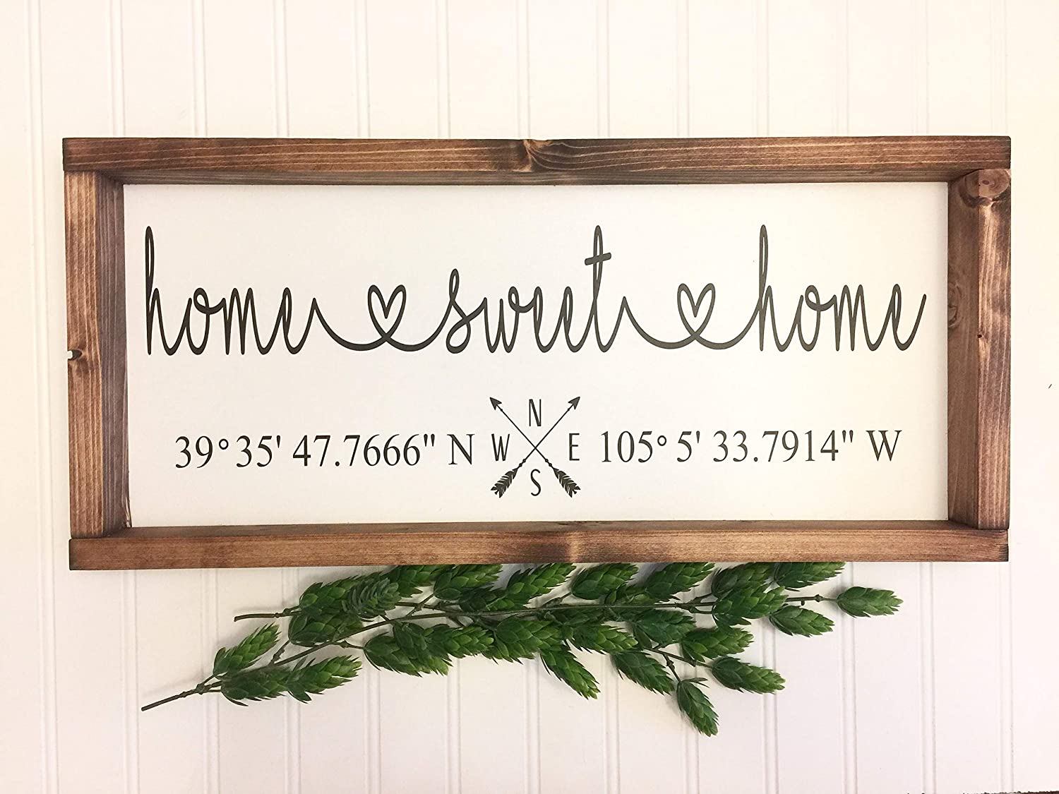 Flowershave357 Home Sweet Home Our First Home Coordinates Latitude Longitude GPS Sign Homebuyer Gift Realtor Sign Housewarming Gift Wood Sign Farmhouse