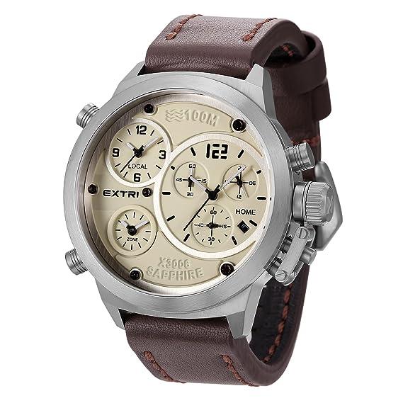 Extri Reloj Analogico-Digital para Hombre de Cronometro con Correa en Cuero X3006E: Extri: Amazon.es: Relojes