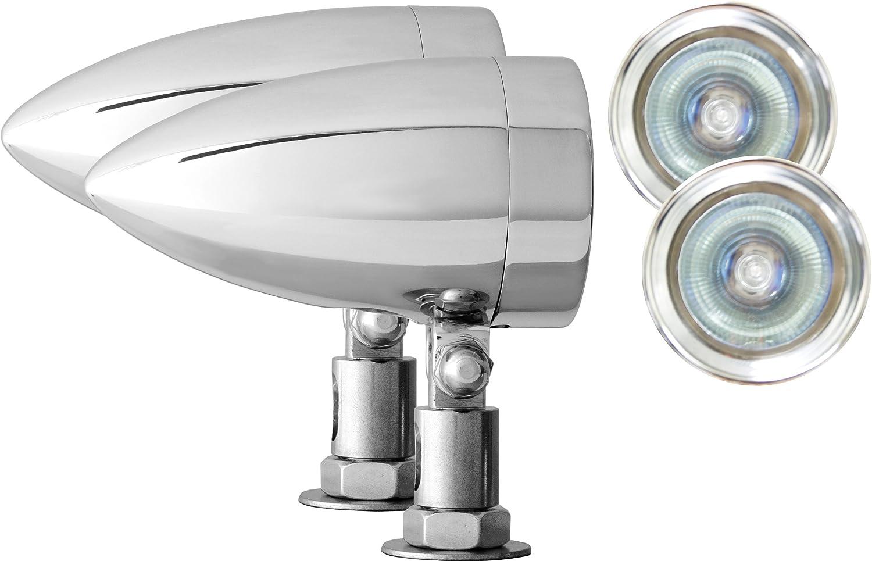 Pair Adjure NS15013-C Beacon 1 Clear Lens 50W Diamond Mount Flamed Chrome Motorcycle Bullet Light