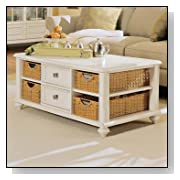 American Drew Camden Antique Rectangular White Coffee Table with Wicker Basket Storage
