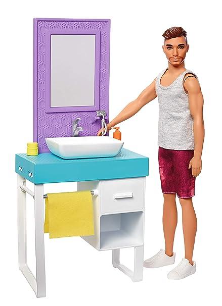 Amazon Com Barbie Ken Doll Bathroom Playset Toys Games