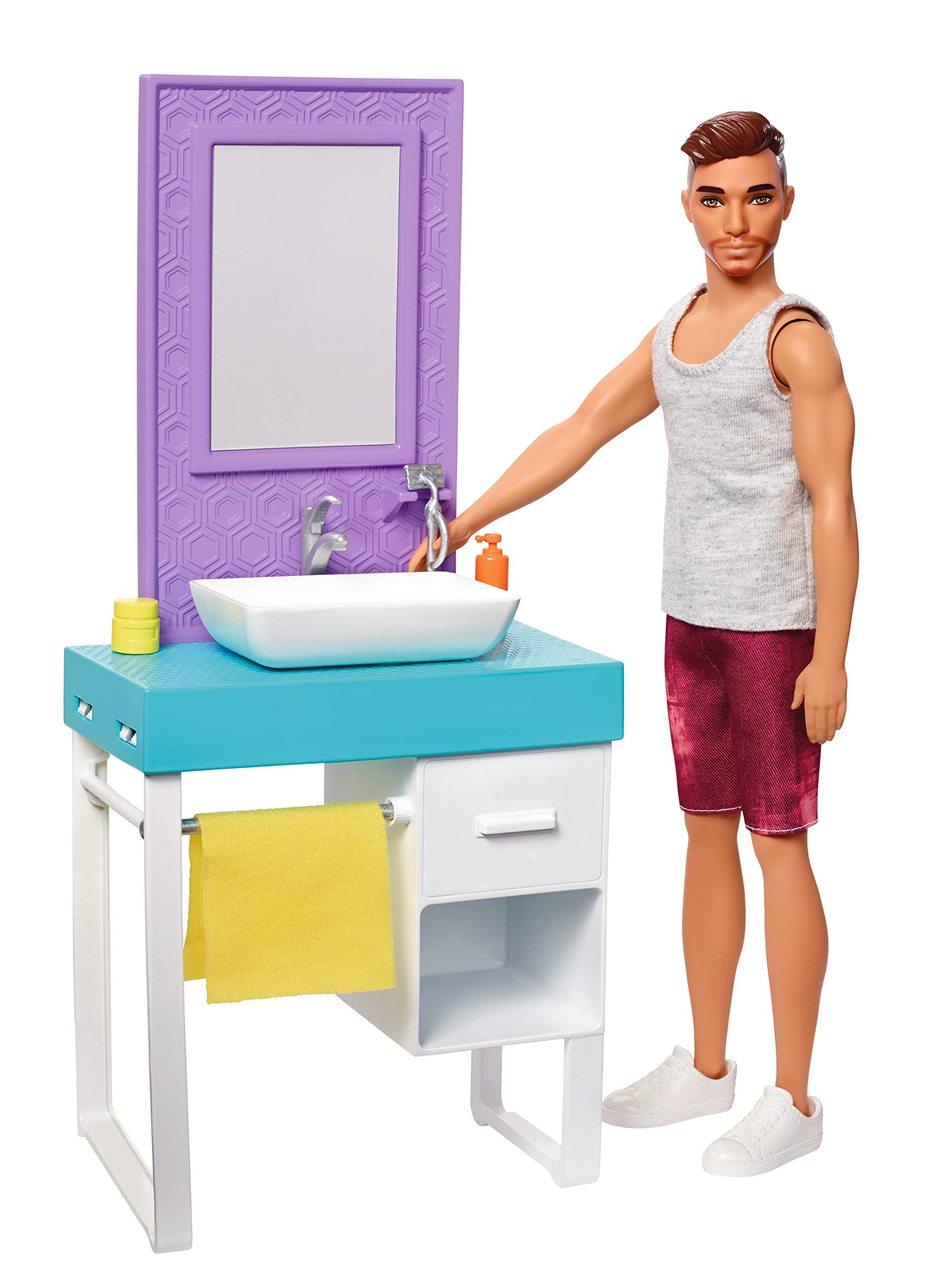 Barbie FYK53 Bathroom-Themed Playset, with Shaving Ken Doll and Sink/Vanity, Multicolored