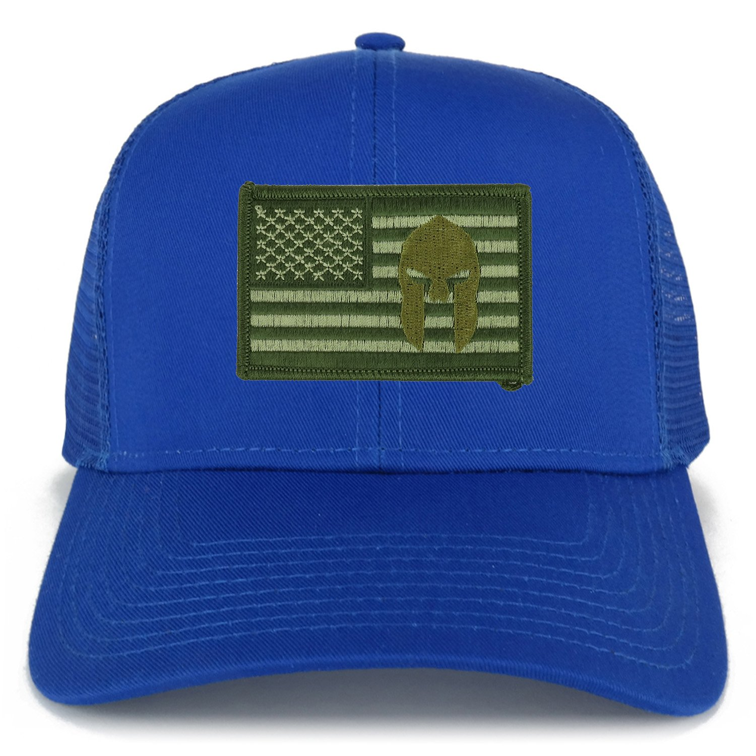 Armycrew Olive USA Flag Spartan Embroidered Patch Snapback Mesh Trucker Cap  - Black at Amazon Men s Clothing store  a8f9c10e5c5