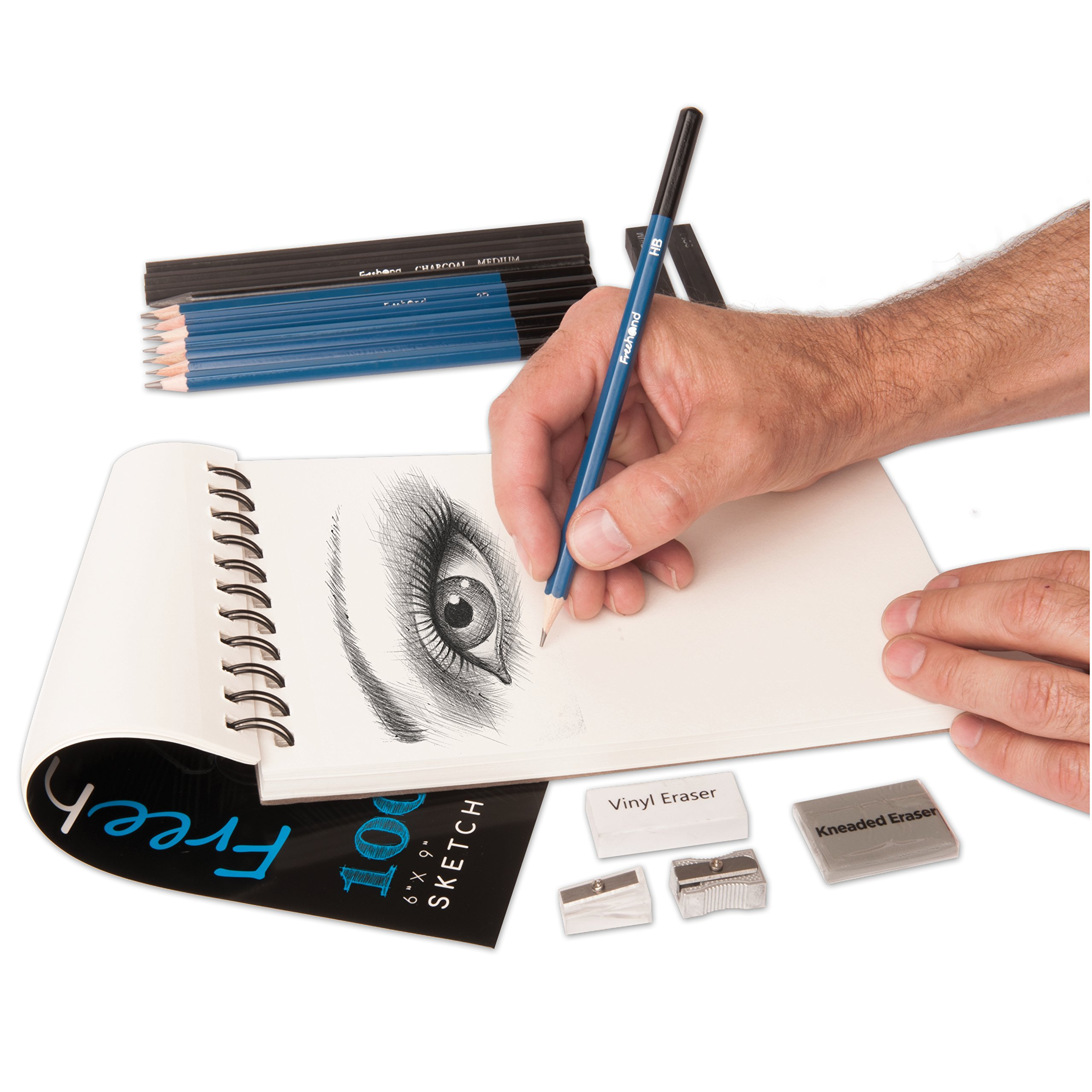 Sketch Pencils Set with 100 Page Drawing Pad - Kneaded Eraser Included - Drawing and Sketch Set