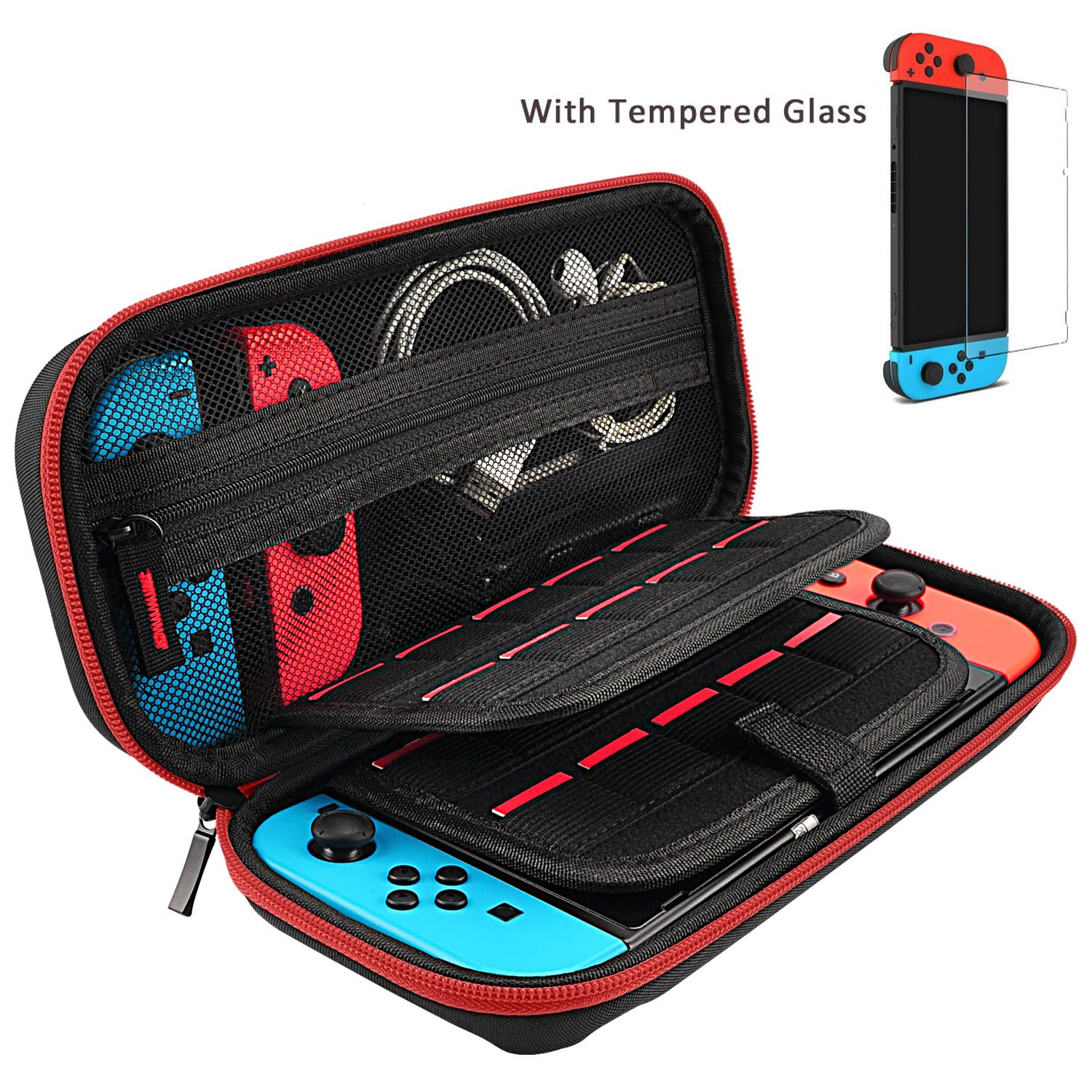 Hestia Goods Case and Tempered Glass Screen Protector for Nintendo Switch - Deluxe Hard Shell Travel Carrying Case, Hard Pouch Case for Nintendo Switch Console & Accessories, Streak Red
