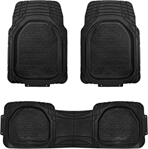 FH Group F11323 Trimmable Deep Tray Rubber Floor Mats (Black) Full Set - Universal Fit for Cars Trucks and SUVs