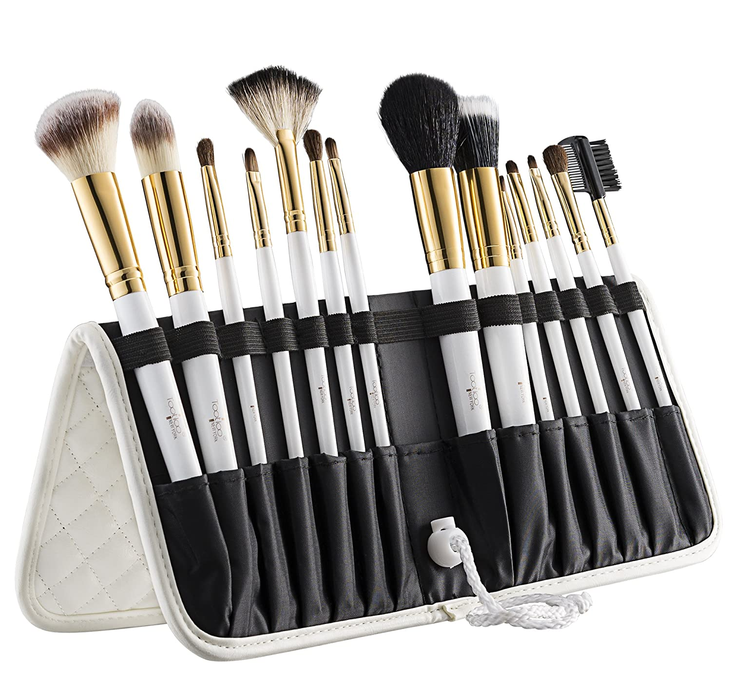 Tootloo's® 14 PC Makeup White Brush Set – Superior Quality Makeup Brushes. Durable, Lightweight & Made of Aluminum Ferule. Free Leather Standing Easel Case & Blender Brush Included – Great Gift Idea!