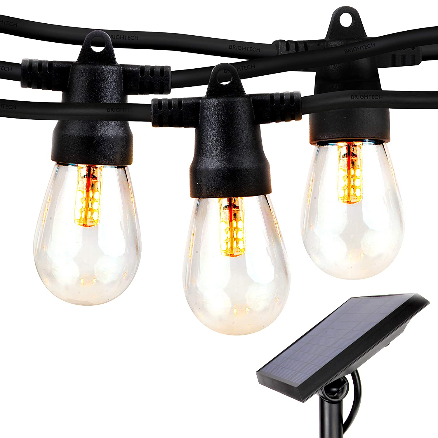 Brightech Ambience Pro Waterproof Solar LED Outdoor String Lights Hanging 2W Vintage Edison Bulbs 27 Ft Commercial Grade Market Lights Create Bistro Ambience On Your Deck Pergola