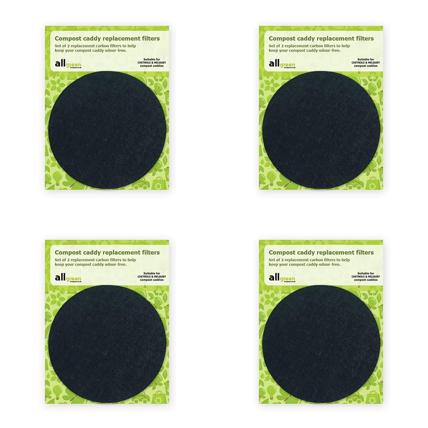 Compost Caddy Spare Filters - Suitable for the Chetnole & Melbury caddies - (4x 2pk - Total 8 filters) The Caddy Company