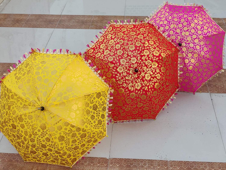 3 Pcs Indian Wedding Umbrella Decorations Floral Designer Outdoor Party Look Decorations Cotton Fabric Mirror Work Vintage Parasols Umbrella