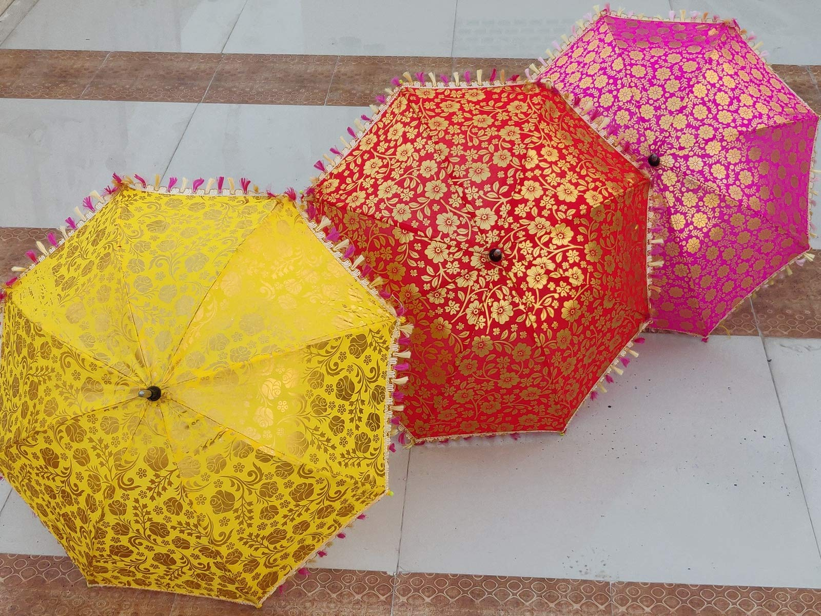 Worldoftextile 10 Pcs Mix Lot Indian Wedding Umbrella Handmade Umbrella Decorations Vintage Parasols Cotton Umbrellas by Worldoftextile