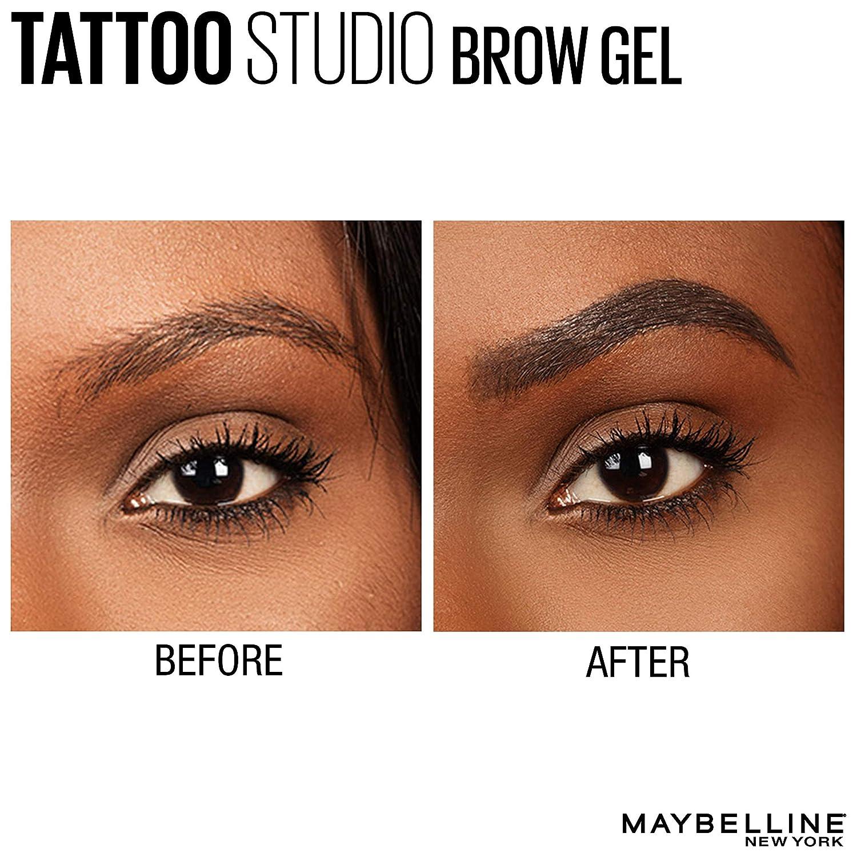 Maybelline New York TattooStudio Waterproof Eyebrow Gel Makeup, Deep Brown,  0 23 fl  oz