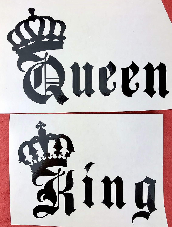 B07P5PCTRK King, Queen, Crowns, Black Vinyl Decal, New, Gift 81IK3MK2a2L