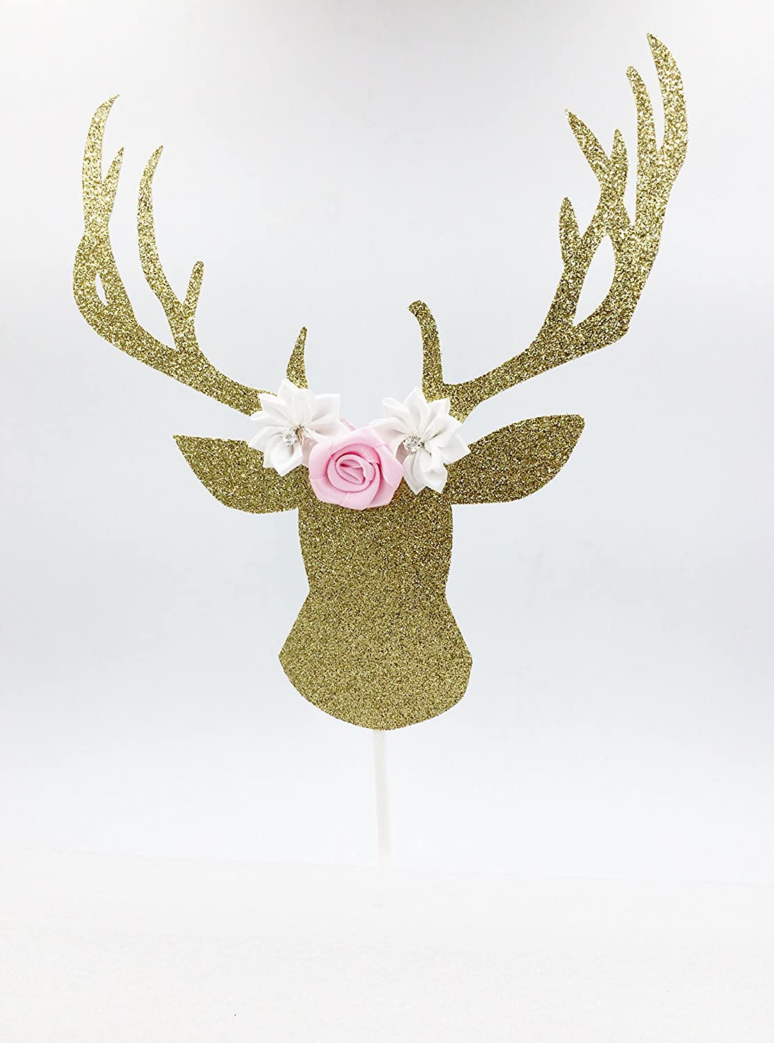 Gold & Pink Glitter Deer Head Boho Cake Topper