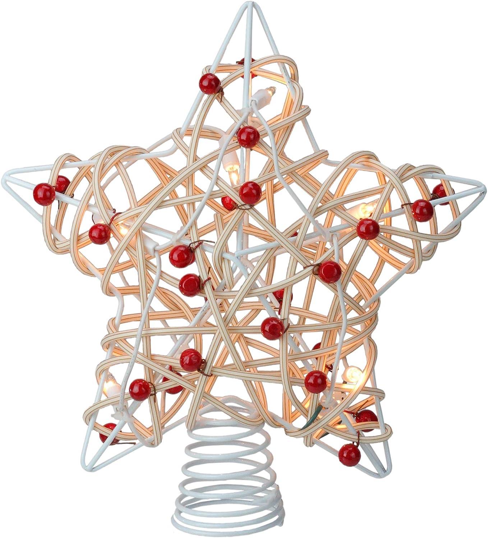 Kurt Adler 12 Lighted White Birch Berry Star Christmas Tree Topper - Clear Lights