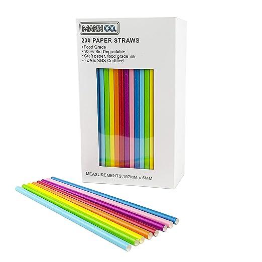 200 pajitas de papel, coloridas pajitas de papel desechables ...