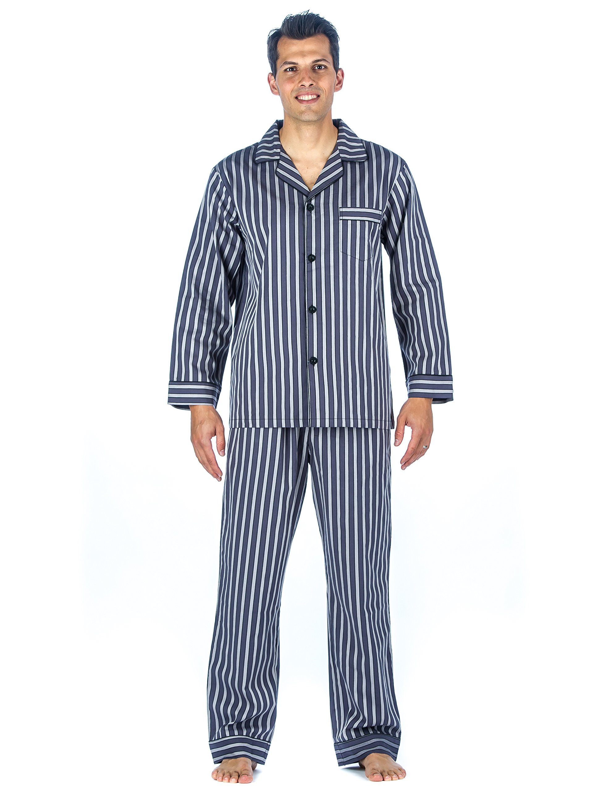 Mens 100% Cotton Woven Pajama Sleepwear Set - Stripes Grey Tone - Large