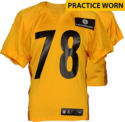 new style 76675 1ed01 Pittsburgh Steelers #78 Practice Worn Yellow Jersey from ...