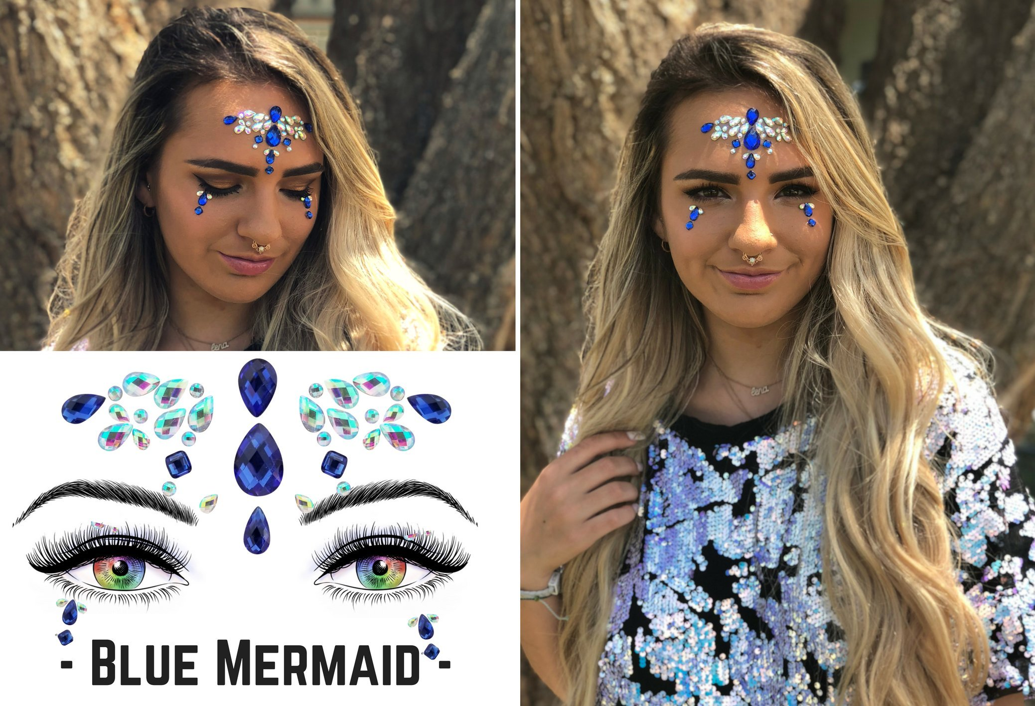 6 Stick On Face Jewels Sets, Gems, Glitter, Gem-Stones, Rhinestones Stickers, Temporary Tattoo - Self-Adhesive, Bindi, Indian, Mermaid Crystals. Accessories For Body, Women, Festivals, Rave, or Party by Luxxe Hour (Image #5)