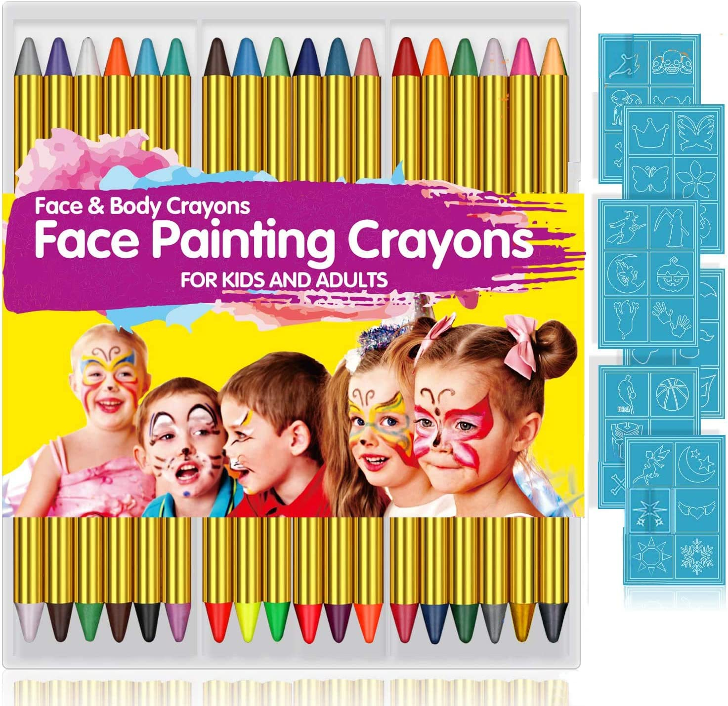 Amazon Com Face Paint Crayons For Kids 36 Makeup Sticks 36 Stencils Professtional Face Painting Kit For Halloween Or Birthday Party 6 Fluorescent 6 Metallic 24 Classic Colors Safe For Sensitive Skin