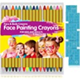 Face Paint Crayons for Kids, 36 Makeup Sticks & 36 Stencils, Professtional Face Painting kit for Halloween or Birthday…
