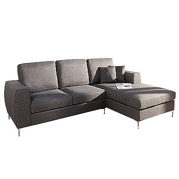 Modernes Design Ecksofa DIVANI anthrazit Ottomane rechts Sofa Couch ...