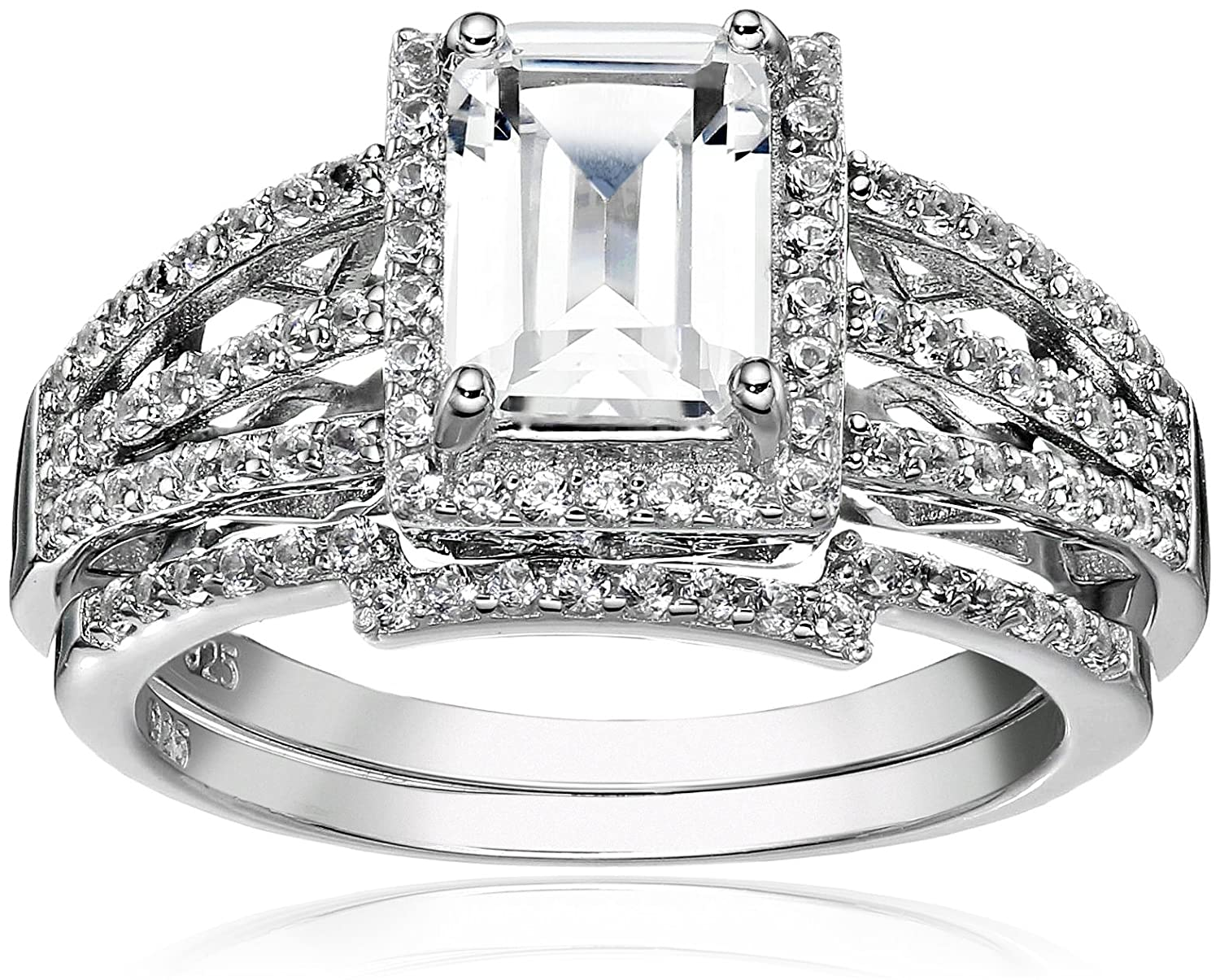 c2c37ce27cc84 Sterling Silver Created White Sapphire Emerald Cut Halo Engagement ...