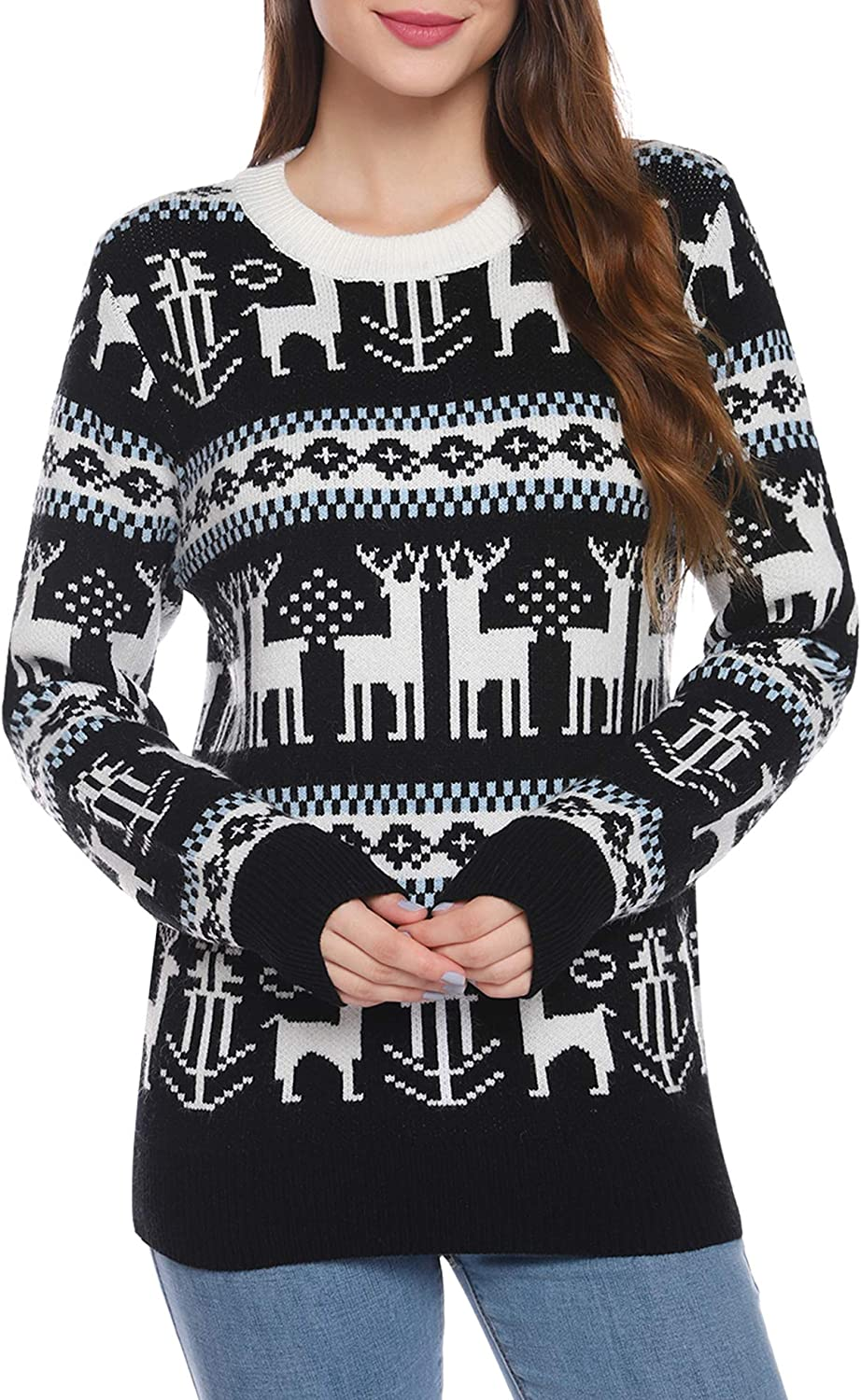 iClosam Women's Sweater Pullover Long Sleeve Reindeer Snowflakes Christmas Sweater