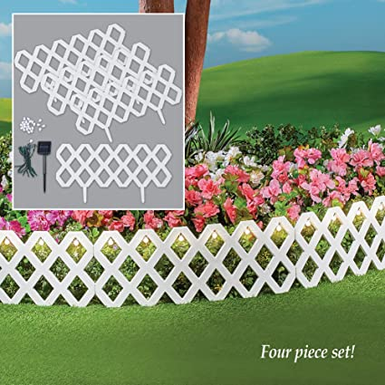 LATTICE FENCE Solar 4 Piece Outdoor Flexible Waterproof Garden Edging  Border White