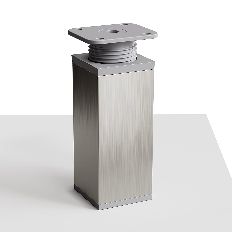 altura regulable Altura: 120mm Sossai/® MFV1-X2 | Tornillos incluidos +20mm Patas para muebles 8 piezas Perfil cuadrado: 40 x 40 mm Dise/ño: Inox-Gris