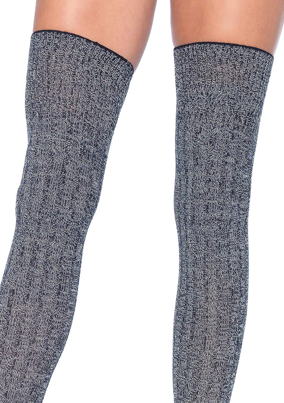 Leg Avenue Womens Rib Knit Thigh Highs Grey Acrylic One Size