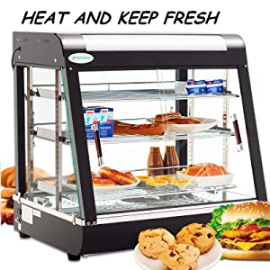 SUNCOO Commercial Food Warmer Display 27 inch Hot Food Countertop Case Buffet Restaurant Heated Cabinet 3 Tier Food Showcase for Catering Pizza Empanda Pastry Patty Warmer 25-1/2 X 27 X 19inch