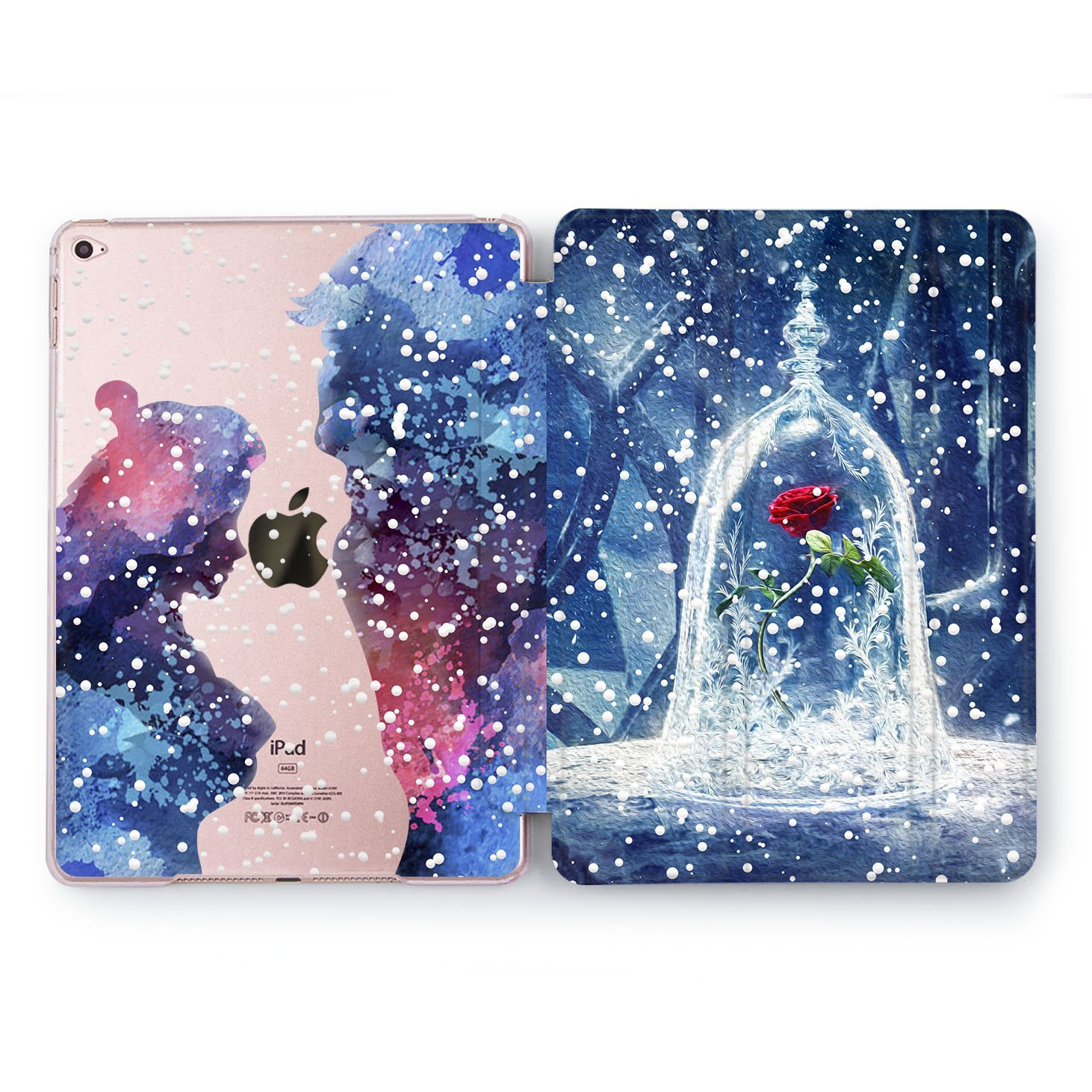 Wonder Wild iPad Case 9.7 6th 5th Gen Smart Hard Cover iPad Pro 9.7 inch Clear Disney Rose Fairytale Design 2018 2017 | A1822 A1823 A1893 A1954 A1673 A1674 A1675 | Beauty and the Beast Watercolor