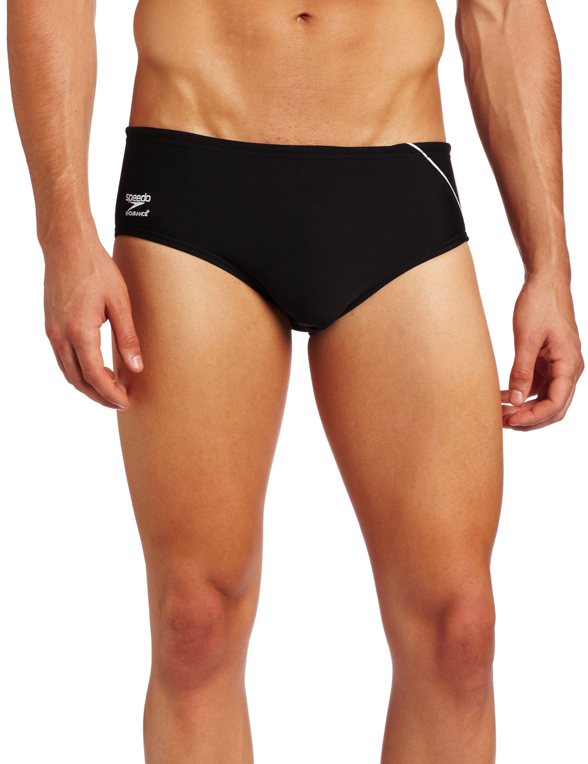 Speedo Men's Endurance+ Mercury Splice Brief Swimsuit, Black/Red, 26 by Speedo