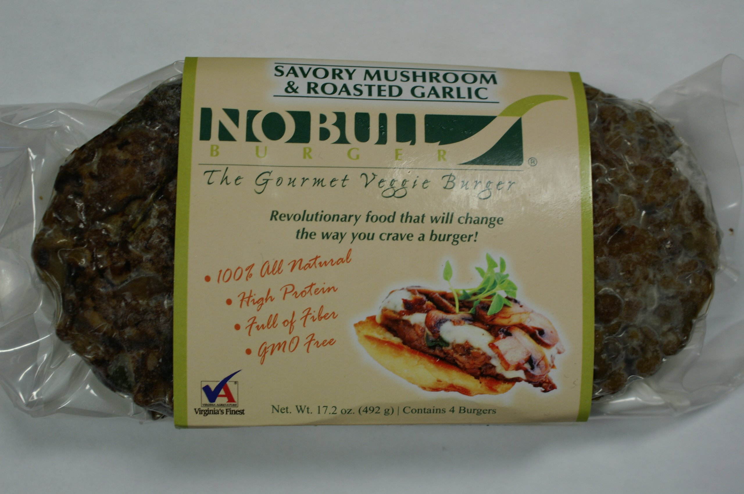 No Bull Gourmet Veggie Burger Savory Mushroom & Roasted Garlic (24 Cooked & Shipped Frozen Burgers - 12 - 2 packs - 1/4 pound per burger - All Natural & Organic -GMO Free) Simply Heat & Serve