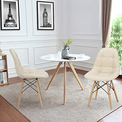 Asense Eames Dining Chair Modern Urban Contemporary W Premium Soft Touch PU Leather Foam