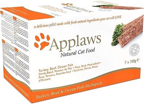 Applaws Comida Completa para Gatos, Bandeja de paté multipaquete, Turquía, Carne de Res y Peces oceánicos, 100 g (Paquete de 7)