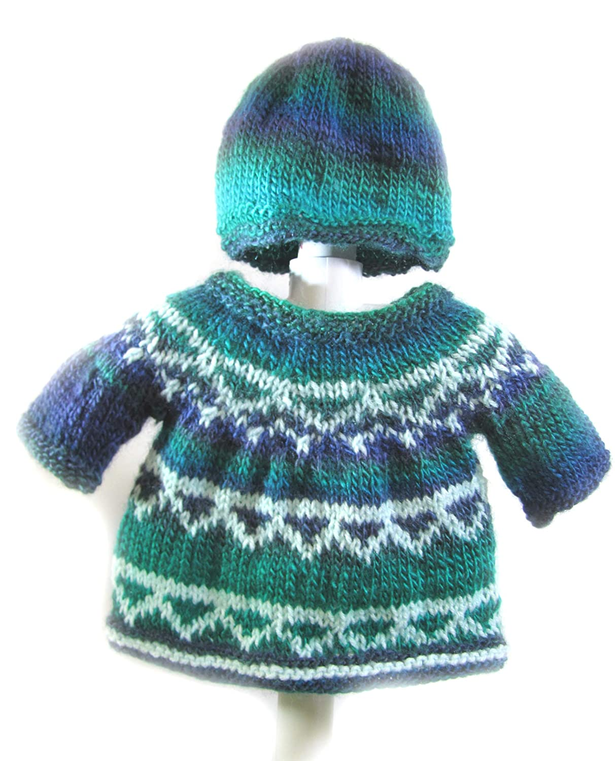 KSS Handmade Blue//Green//White Pullover Sweater with a Hat 6 Months