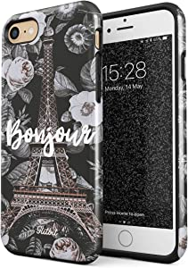 Glitbit Compatible with iPhone 7/8 / SE 2020 Bonjour Paris Eiffel Tower Floral France City of Love Roses Flower Heavy Duty Shockproof Dual Layer Hard Shell + Silicone Protective Cover