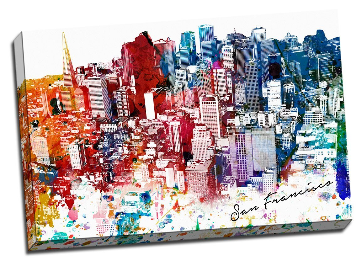 Amazon.com: Colorful Miami Urban Painting Canvas Wall Art Stretched ...