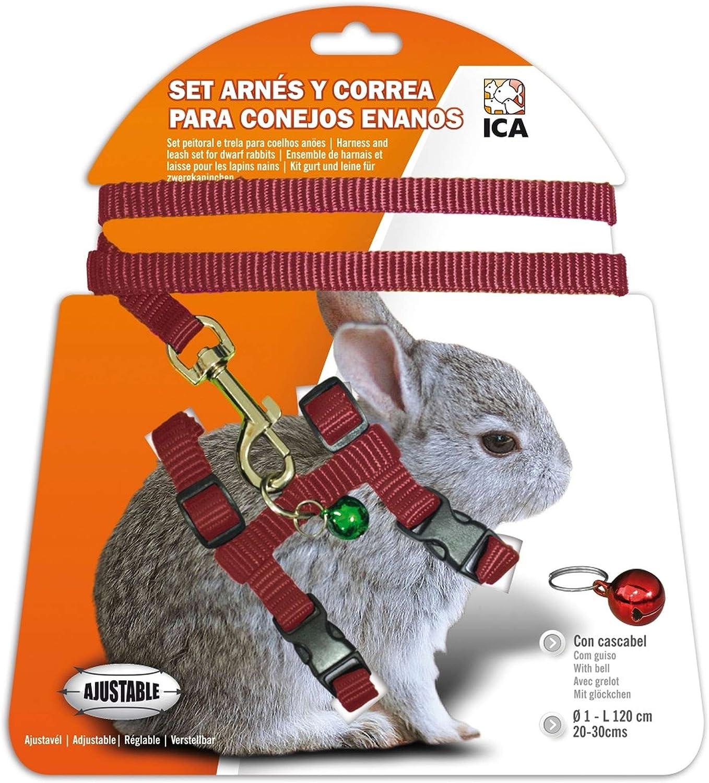 ICA DA1020 Set de Arnés y Correa para Conejos Enanos, Rojo