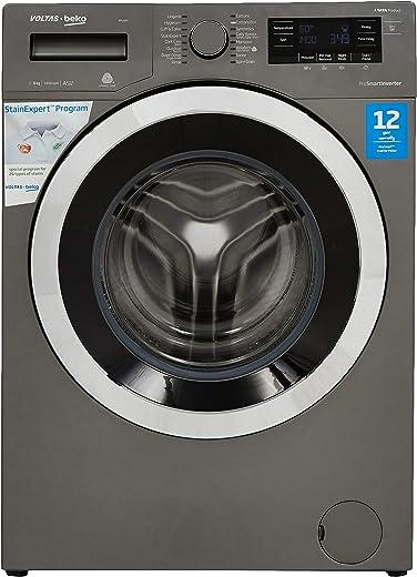 Voltas Beko 8 Kg Inverter Fully-Automatic Front Loading Washing Machine, Inbuilt Heater, 26 Stain Remover (WFL80M, Manhattan Grey)