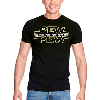 66157fafa Star Wars Pew Pew Men's T-Shirt for Fans of Elbenwald Cotton Black:  Amazon.co.uk: Clothing