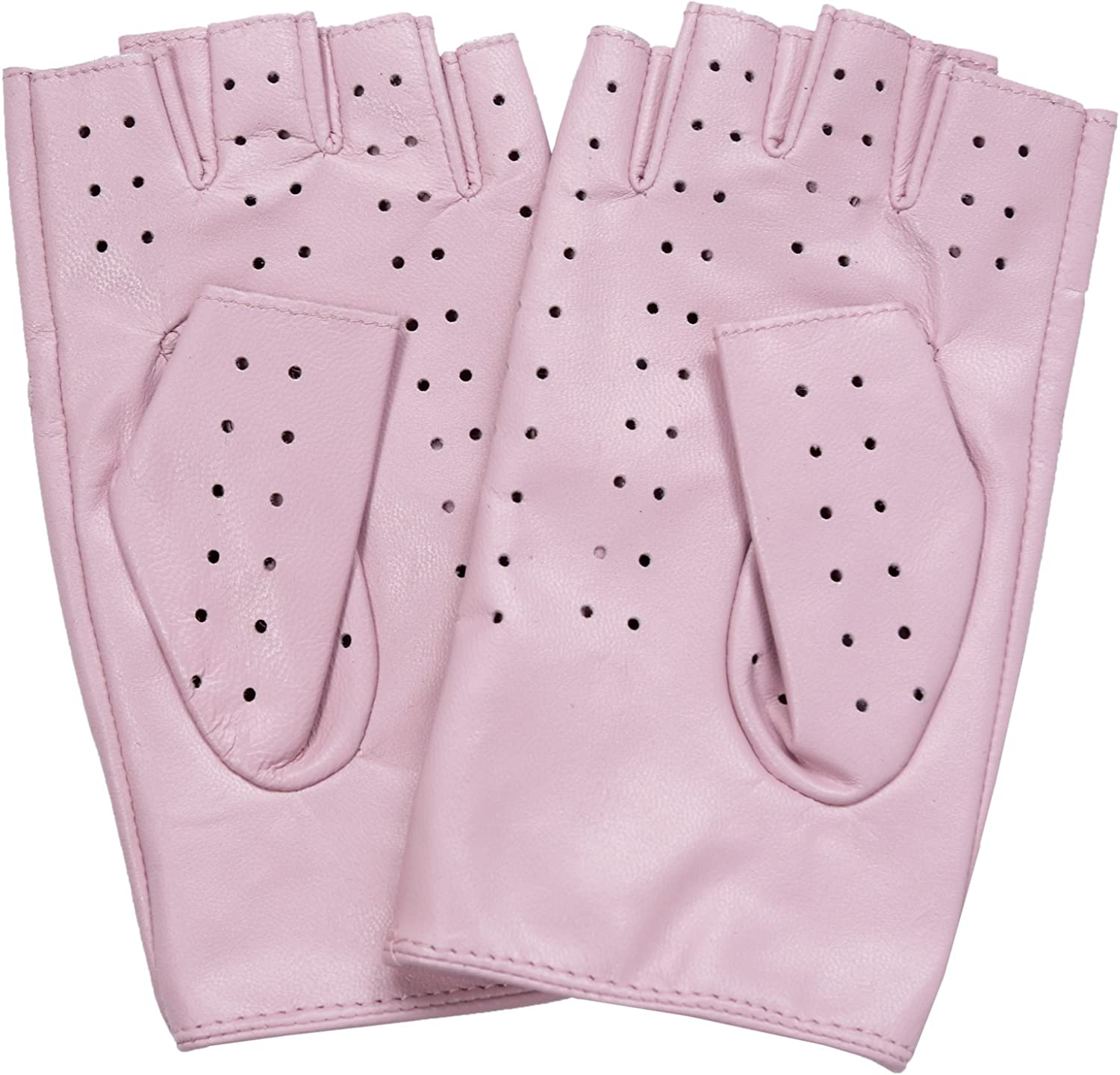 Ambesi Women/'s Classic 1//2 Finger Leather Driving Gloves Pink XL