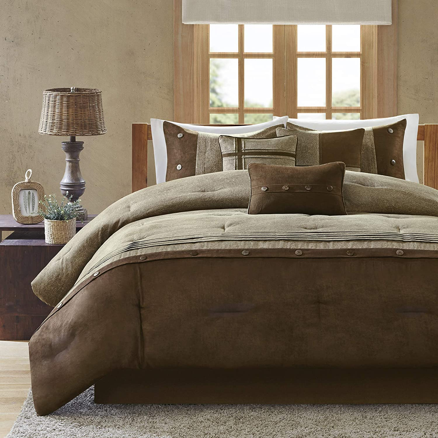 Madison Park Boone 7 Piece Faux Suede Comforter Set Brown King