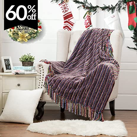 Christmas Throw Blankets Decorative Woven Chenille Blanket With Tassels,  Super Soft U0026 Warm Striped Green