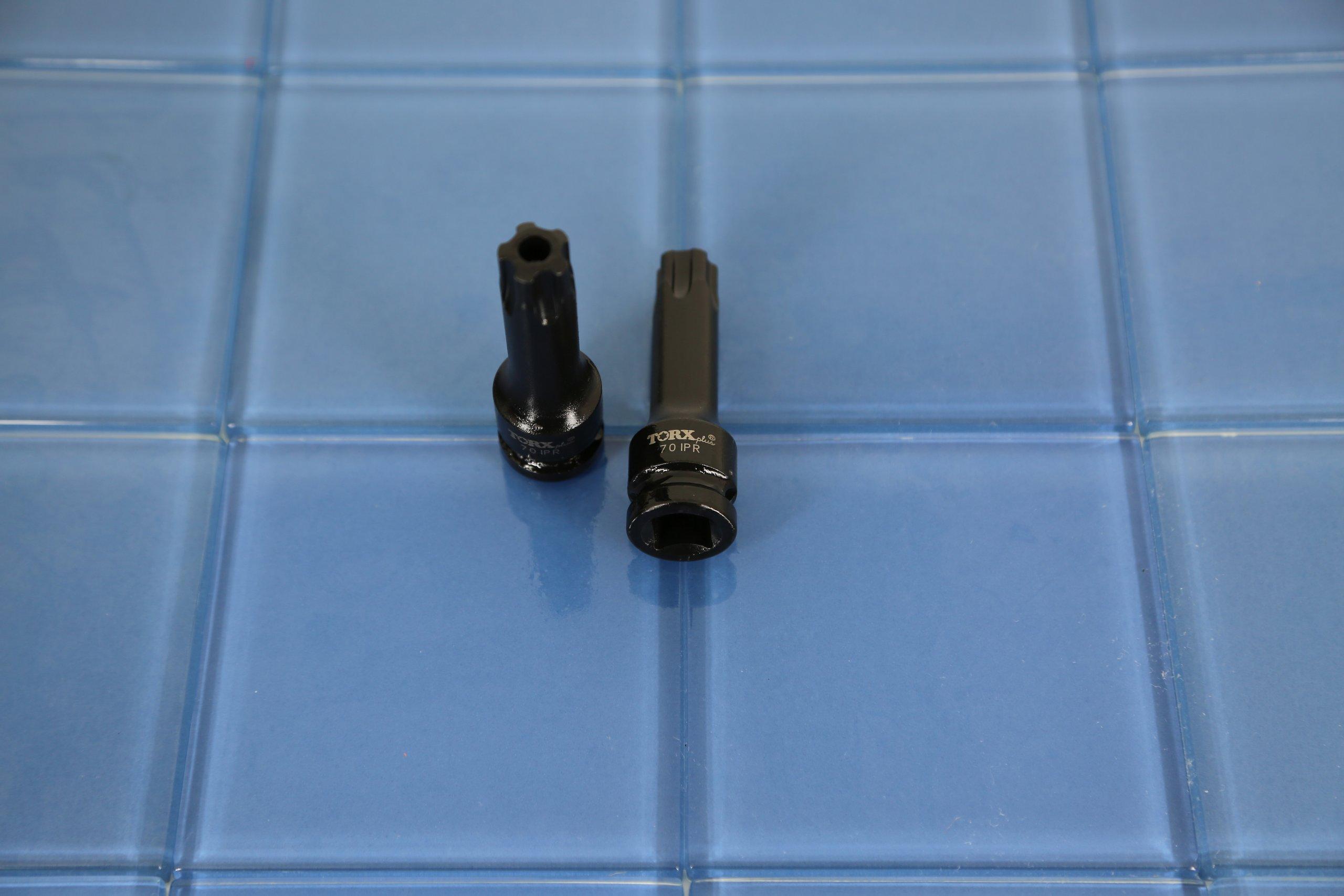 TEMO 9 PC 3 inch (76mm) Long Tamper Proof Torx Plus IPR 5 point Black Impact Bit Socket Set 1/2 inch (12.7mm) Square Drive Auto Repair Tool