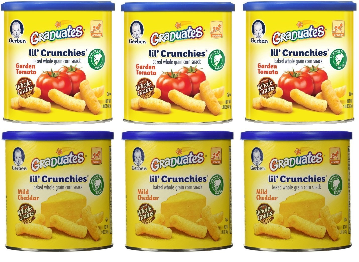 Gerber Graduates Lil' Crunchies, Mild Cheddar/Garden Tomato, 1.48-Ounce Canisters (Pack of 6)